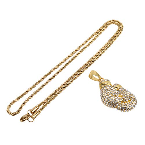 Botreelife Edelstahl Kette drehen Voller Diamant Boxhandschuhe Anhänger Halskette Gold