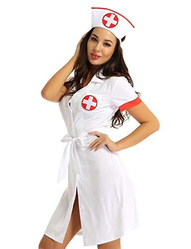 Alvivi Damen Ärztin Krankenschwester Kostüm Doktor Arztkittel Halloween Karneval Fasching Cosplay Verkleidung Weiß S