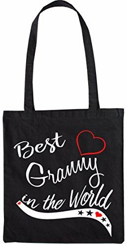 Mister Merchandise Shopping Tasche Beutel Best Granny in the World Oma Grandma Grandmother gift baby present Jutebeutel natur Öko Schwarz
