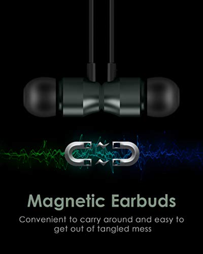 PALOVUE Lightning Headphones Earphones Earbuds in-Ear Magnetic MFi Certified with Microphone Controller Compatible iPhone 11 Pro Max X XS Max XR iPhone 8 Plus iPhone 7Plus Earflow (Metallic Green)