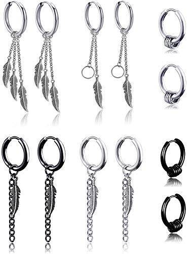 Juego de 6 pares de pendientes colgantes de acero inoxidable con diseño de plumas de Kpop para hombre y mujer