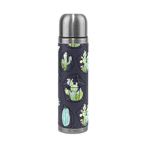 FFY Go Travel Mug, Tropical Cactus Motif imprimé personnalisé Thermos en acier inoxydable LeakProof Thermos isotherme extérieur Cuir pour filles garçons Noir 500 ml