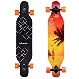 Slendor Longboard Skateboards 42 inch Drop Through Deck Complete Maple Cruiser Freestyle, Camber Concave