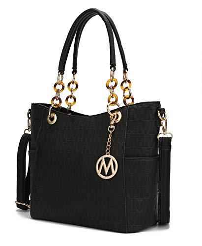 Mia K Collection Shoulder Bag for Women, PU Leather Pocketbook Top-Handle Crossbody Purse Tote Satchel Handbag Black