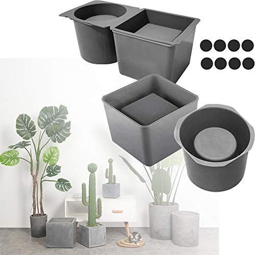 2 Packs Silicone Planter Mold, Precast Concrete Silicone Mold Flower Pots, Cube and Cylinder Resin Planter Mold, Square Silicone Mold DIY Flower Pot Mold Wax Casting Mold for DIY Crafts Making
