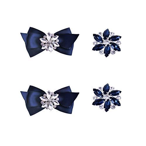 Elegantpark CQ Schleife Strass Geschenk Flasche Pumps Hochzeit Brautschuhe Abendschuhe Dekoration Accessories Schuhclips 2 Paare Marineblau