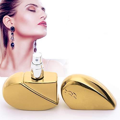 Botella de perfume, botella de spray de perfume delicada, botella de 25 ml con cabezal de bomba en forma de corazón y rociador vacío dorado, portátil y bellamente empaquetado