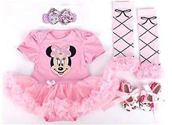 Baby Gift Clothing Set 4 in 1 Set Romper+Head Band+Legging Socks+Shoes  12-18 Mo
