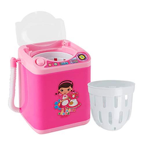YVSoo Mini Machine à Laver Dînette Enfant Outil de Nettoyage Maquillage Machine électronique pour Laver Houppe à Poudre, Pinceaux de Maquillage - Rose