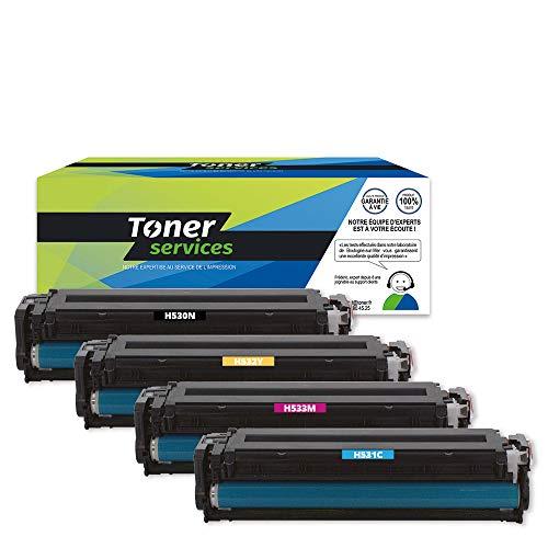 Toner Services - Cartucho de tóner para HP 304A y Canon 718 (4 unidades), color negro, cian, magenta y amarillo
