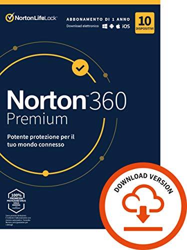 Norton 360 Premium 2021, Antivirus per 10 Dispositivi Licenza di 1 anno, Secure VPN e Password Manager PC, Mac, tablet e smartphone, Codice d attivazione via email