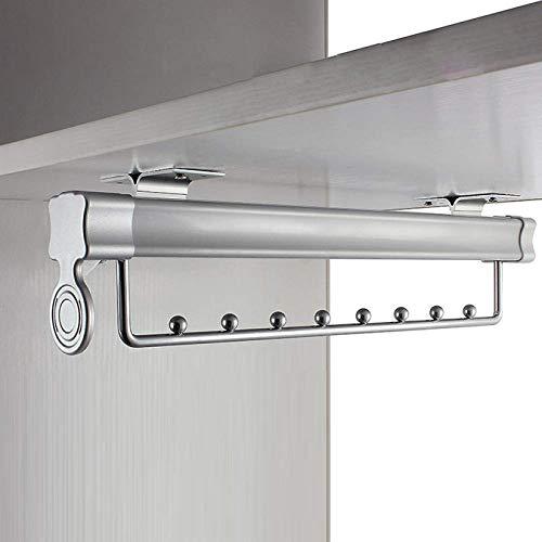 ZHJIUXINGBT Wardrobe pull out clothes hanger rail, Cupboard Wardrobe Rail Organizer Metal Rack, 463mm-8 Ball