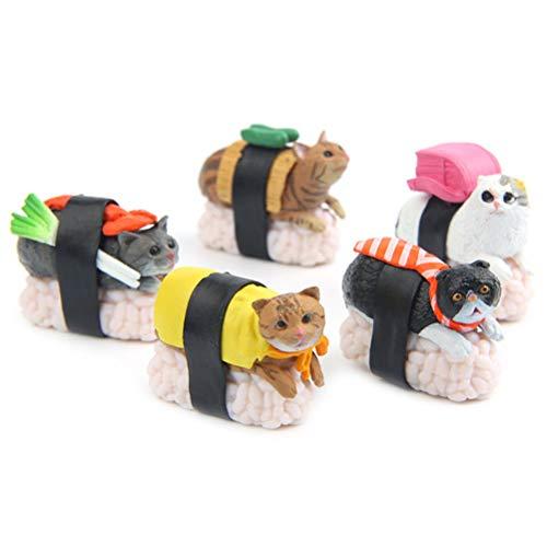 Desire Sky 5 figuras de gato de sushi en miniatura para jardín de hadas, bonsái, paisaje, decoración de jardín
