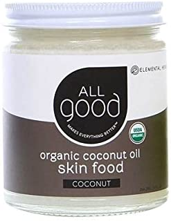 All Good Organic Coconut Oil Skin Food - Natural Moisturizing Skin Care & Massage Oil - Non GMO - Vegan - 7.5 oz (Coconut)