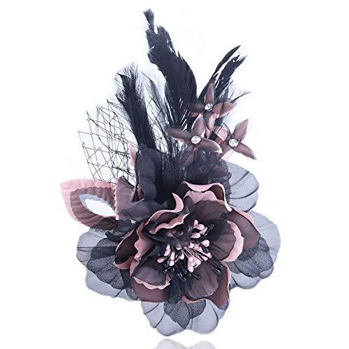 XZFCBH prachtige mode doek kunst stof bloem broche sieraden corsage schattig veer reversspeld voor vrouwen accessoires
