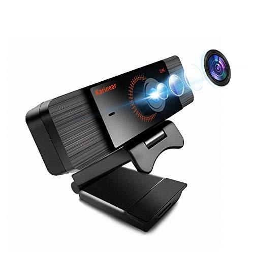 Karinear Webcam con Micrófono, Cámara Web de Full HD 2K 1440P, USB 2.0 Plug y Play, Webcam para PC, Portátil, Escritorio, para Conferencias, Videollamadas