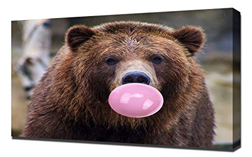 Lilarama Leuke Beer Roze Bubble Gum Kauwgom Muur Art Iconische Bubblegum Pop Art Home Décor - Canvas Art Print - Muur Kunst - Canvas Wrap