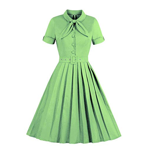 MONISE Women's 1950s Retro Vintage Dress Short Sleeves A-line Slim Cocktail Prom Swing Party Dresses Green