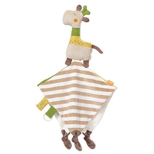 FEHN 059106 Schmusetuch Giraffe Deluxe / Spielkamerad, Einschlafhilfe & Stofftier-Schnuffeltuch mit Befestigungsring für Schnuller zum Greifen und Fühlen, für Babys und Kleinkinder ab 0+ Monaten