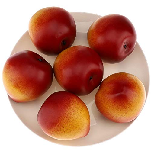 Gresorth 6pcs High Grade Fake Nectarine Peach Decoration Artificial Realistic Fruit Simulation for Home Party Festival Christmas Display