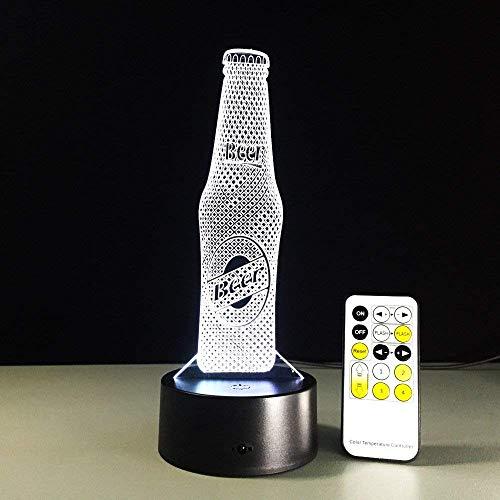 Botella De Cerveza, Luz De Noche 3D Para Niños, Niñas, Regalo, Lámpara De Ilusión 3D Para Dormitorio Al Lado De La Mesa, Lámpara De Mesa De Escritorio Con 16 Colores Cambiantes, Regalo Para Niños