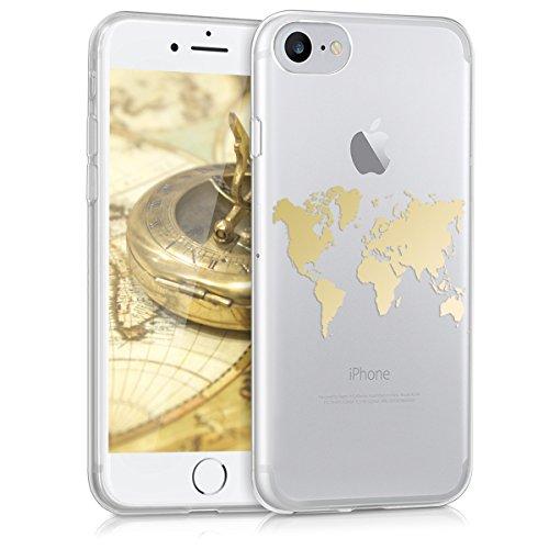 kwmobile Cover Compatibile con Apple iPhone 7/8 / SE (2020) - Back Case Custodia Posteriore in Silicone TPU per Smartphone - Backcover Contorni Oro/Trasparente