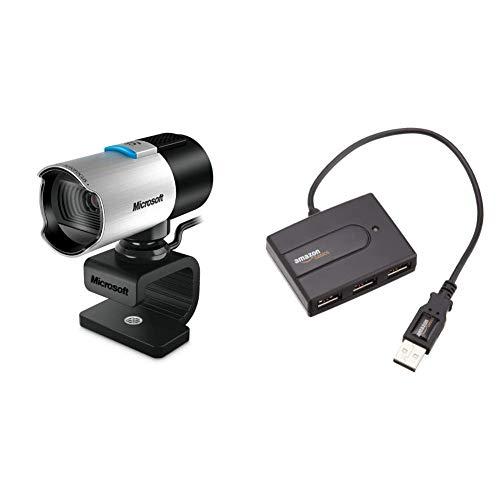 Microsoft - LifeCam Studio & AmazonBasics - Hub USB 2.0 con 4 Puertos