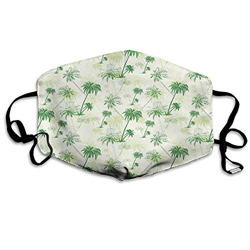 Unisex Adult Mouth Face Mask Anti Breathable Filter Dust Absorb Sweat Washable Masks Sketch Palm Tree North Pacific Ocean Foliage Abstract Monoch