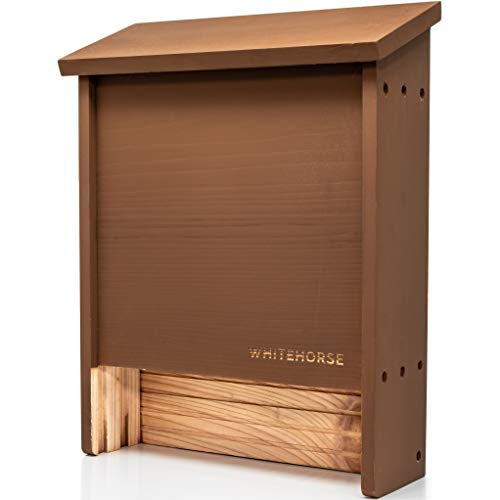WHITEHORSE Premium Cedar Bat House - A 2-Chamber Bat Box That is Built to Last - Enjoy a Healthier Soil and a Greener Lawn While Supporting Bats (Brown)