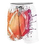 WSNWCY Maillot de Bain de Plage pour Hommes,Ballon de Rugby en aquarelles numériques Spla,Short de Maillot de Bain d'été avec Poche Taille S