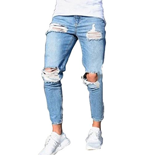 Uomo Taglie Forti Pantaloni Lunghi, Stretch Skinny Slim Pantaloni Rotti con Cerniera Slim Pantaloni Strappati Jeans da Uomo