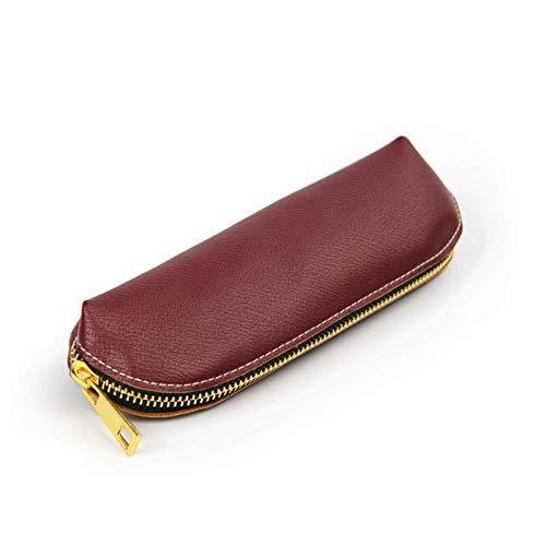 YLLAND Cremallera de Cuero Pluma Pluma Bolsa Bolsa Bolsa pequeña Maquillaje cosmético Bolsa de lápiz Simple (Color: Rosa, tamaño: 19.5x6cm) LNNDE (Color : Wine Red, Size : 19.5x6cm)