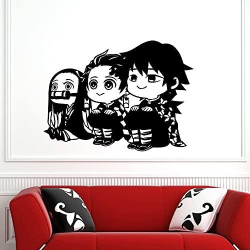 Anime dibujos animados Manga Demon Slayer Kimetsu no Yaiba niños Kamado Tanjirou Nezuko vinilo pared pegatina coche calcomanía guardería dormitorio sala de estar decoración del hogar Mural