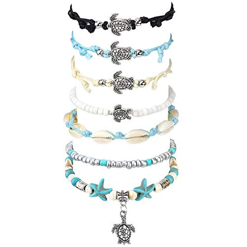 DTWAWA 6Pcs Beach Turtle Shell Starfish Anklet Boho Adjustable Anklet Foot Jewelry Chain for Women Girls