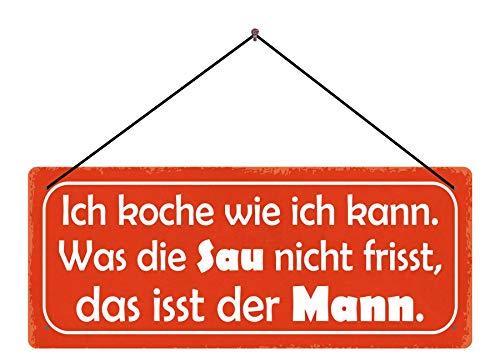 BlechschilderWelt Cartel de Chapa con Texto en alemán Ich koche