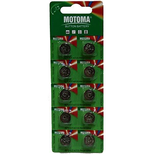 Motoma–Lote de 10pila botón Alkaline AG13G13LR44A76, GP76A 357SR44W