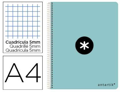 Cuaderno espiral liderpapel a4 antartik tapa dura 80h 100 gr cuadro 5mm color menta. (3 Unidades)