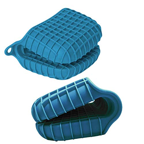 Heat Resistant Silicone Pot Holder and Oven Mitt Kitchen Set Non-Slip Checkered Grip, Easy Clean (Navy Blue)