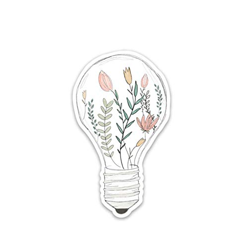 Inspirational stickers | Bright idea flowers growing within a light bulb | Waterproof vinyl decals for a laptop, notebook, hydro flask, journal, water bottle etc