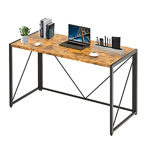 Furmax Office Desk 110cm Writing Computer Desk,Solid Sturdy Foldable Office Desk Modern Laptop Table Wood Desktop for Home Office with Storage Bag and Headphone Hook Wooden Frame (Brown)
