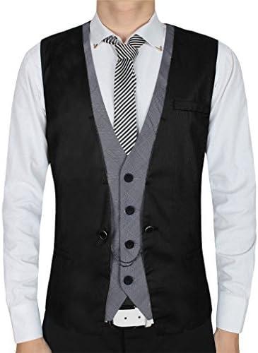 Vest,QinYing Men's Waistcoat Cotton Knit Sleeveless Casual Jackets Black Large
