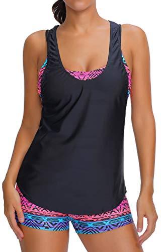 EUDOLAH Bañador Mujer 3 Piezas Top Deportivo Negro Yoga Fitness Chaleco Pantalones Cortos con Estampado Calico A- Negro-F,L