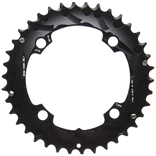 Truvativ Chainring MTB 38T 4 Bolt 104 mm BCD Aluminium No Pin Blast Black 2 x 10 (38-24) S1 (49 mm Chainline), 11.6215.188.420 by Truvativ