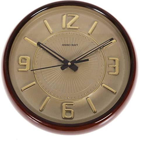 Mishty Reloj de pared analógico de 26 cm x 26 cm (oro, con cristal)