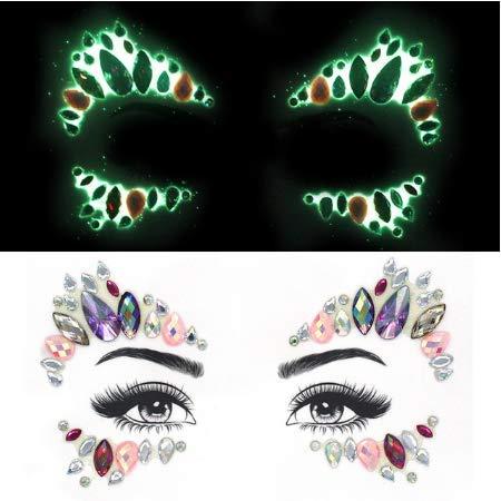 Glow in Dark Luminous Face Jewel Gems Tatouage temporaire Night Club Festival Party Body Gems Strass Autocollant