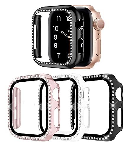 Carcasa para Apple Watch Serie 4/5/6/SE 44 mm, con protector de pantalla de cristal templado, 3 unidades para iWatch, carcasa completa ultra fina (44 mm)