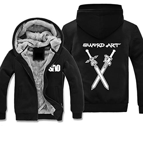 CRBTA Sword Art Online Kirito Anime Hoodie Zip Jacke Cosplay Unisex Raglanärmeln Verdicken Baumwoll Fleece Kostüm Mantel