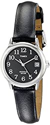 Timex Women's T2N525 Easy Reader Black Leather Strap Watch