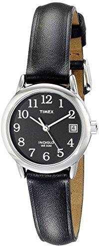 Timex Relógio feminino Easy Reader com pulseira de couro de 25 mm, Preto/Prateado/Preto