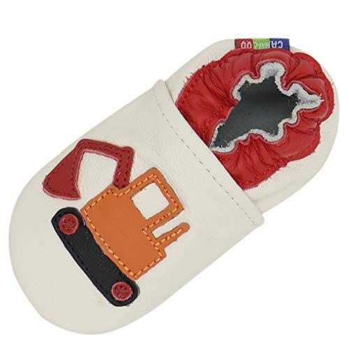 Carozoo Weiche Sohle Leder Baby Kinder Hallenschuhe Prewalker (16 Designs), Beige - Bagger Creme - Größe: 4-5 Jahre